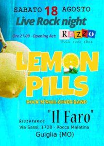 LEMON PILLS Live Rock Night - Roccamalatina - Ristorante Il Faro - Locandina